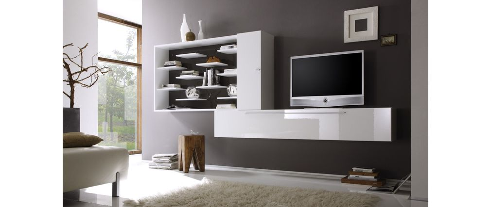 Ensemble mural tv design blanc et gris fonc xenon miliboo - Ensemble mural design ...