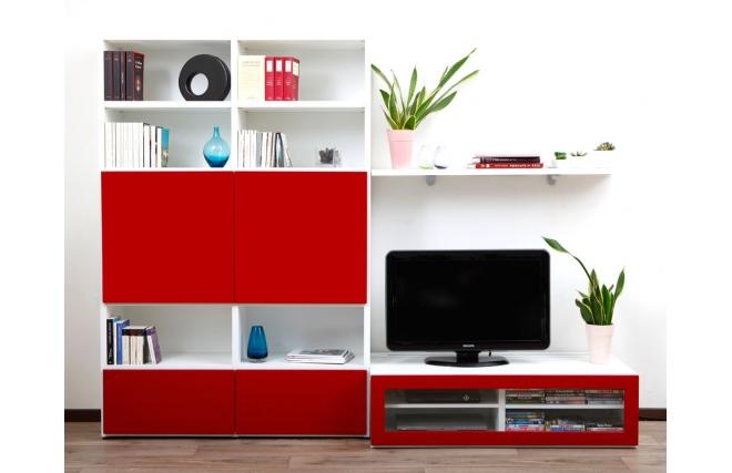 Ensemble Mural Tv Design Blanc Et Laqué Rouge Kelis By Symbiosis