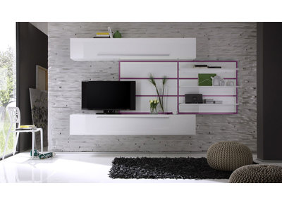 Ensemble mural TV Design Blanc et Lilas XENON