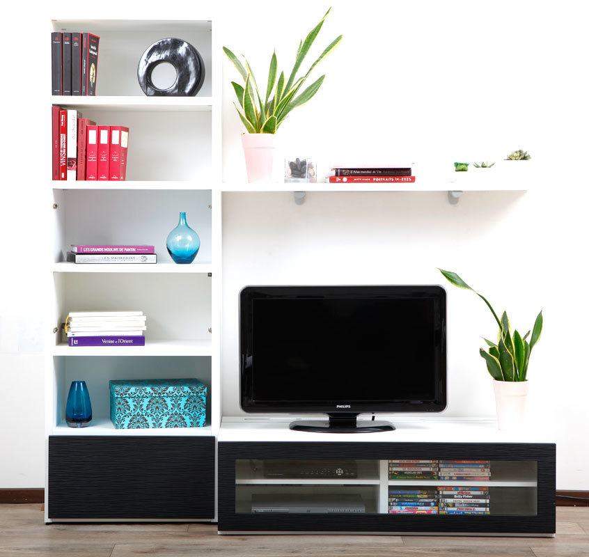 Ensemble mural tv design blanc et noir isis by symbiosis miliboo - Ensemble tv mural design ...