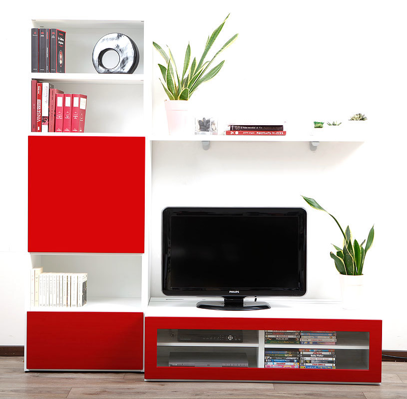 meuble tv meubles tv rouge blanc laque meubles tv rouge. Black Bedroom Furniture Sets. Home Design Ideas