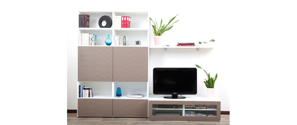 Ensemble mural tv design blanc et taupe kelis by symbiosis miliboo - Ensemble mural design ...