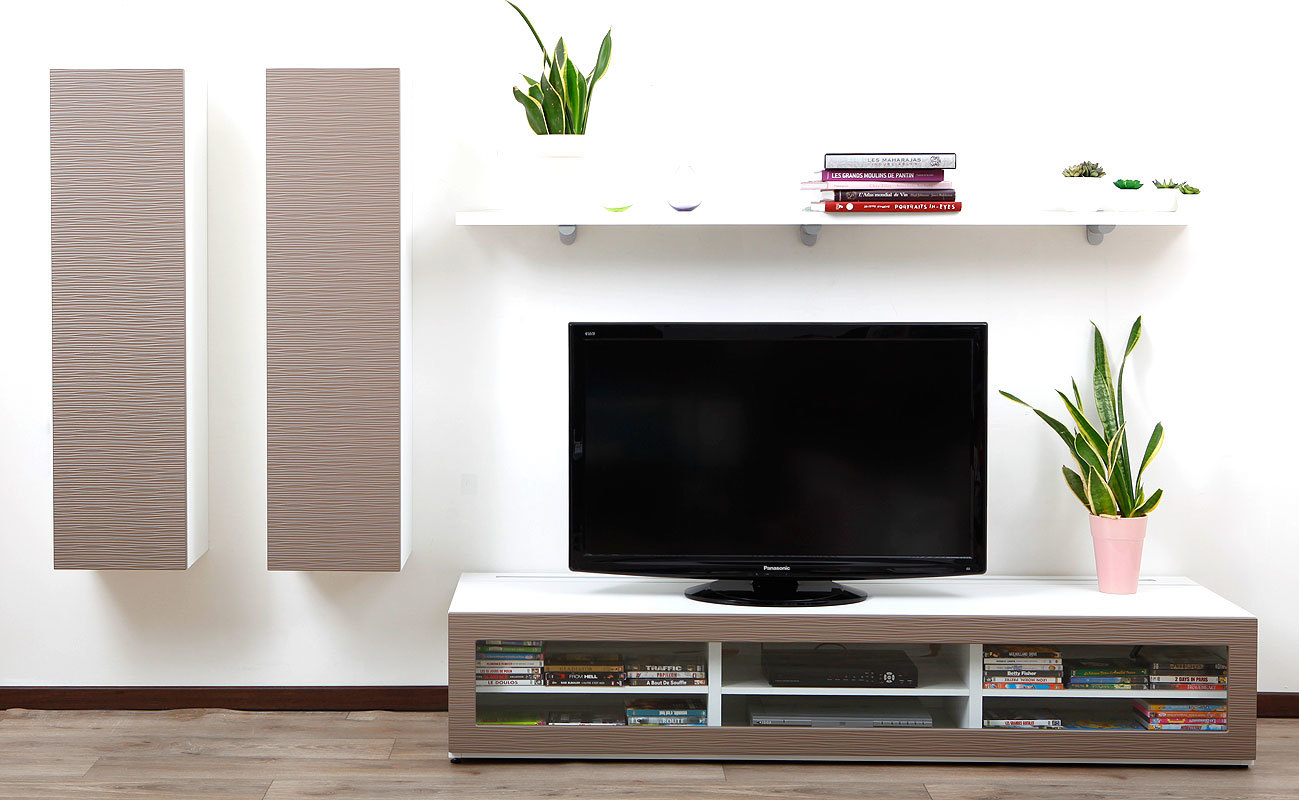 Pin Ensemble Mural Tv Design Blanc Et Taupe Xalis By Symbiosis On  # Meuble Tv Taupe Laque