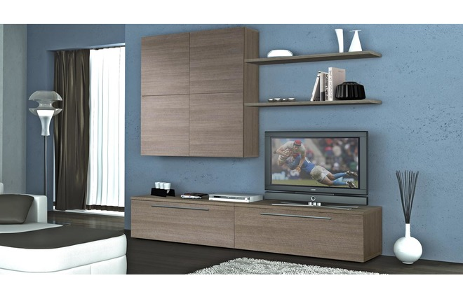Ensemble mural tv design bois gris ellis miliboo for Ensemble meuble tv gris