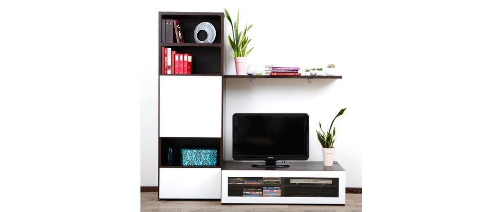 Ensemble mural TV design chocolat et blanc laqué ADIS by SYMBIOSIS