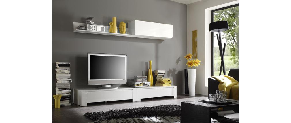Ensemble mural tv design eria blanc laqu miliboo - Ensemble meuble tv blanc laque ...