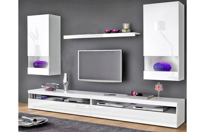 Meuble tv living blanc laque for you meilleure for Meuble tv mural design belgique
