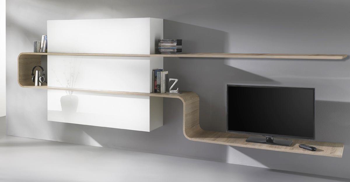 Ensemble mural tv design laqu blanc et bois clair lanka - Ensemble tv mural design ...