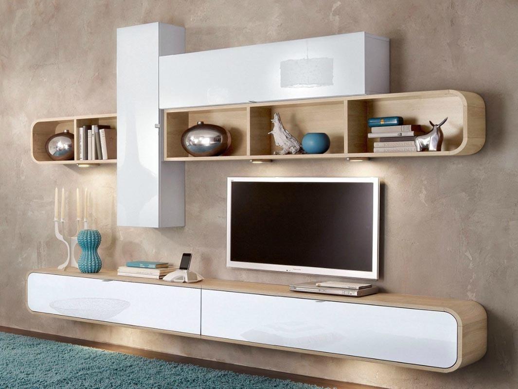 Ensemble mural TV design laqué blanc et chêne EDEN  Miliboo -> Porte Television Mural