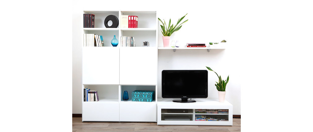 Ensemble mural tv design laqu blanc kelis by symbiosis miliboo - Ensemble tv mural laque ...