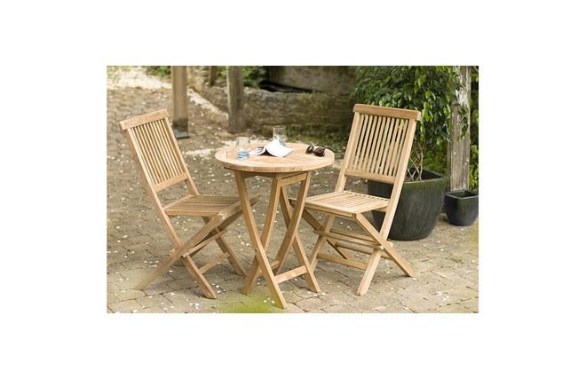 Ensemble table de jardin et 2 chaises en teck saint barth - Table et chaise en teck ...