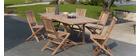 Ensemble Table de jardin et 6 chaises en teck BORNEO