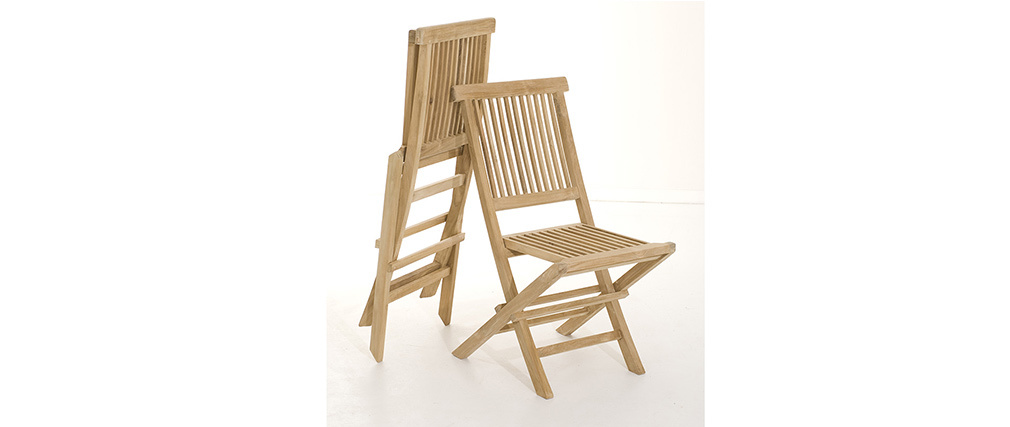 Ensemble Table de jardin et 6 chaises en teck BORNEO - Miliboo