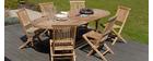 Ensemble table de jardin et 6 chaises en teck SANTALUZ