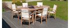 Ensemble table de jardin extensible et 6 fauteuils empilables en teck SAINT BARTH