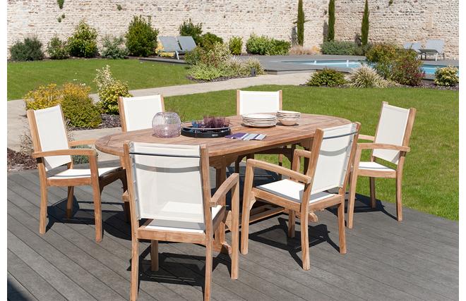 Ensemble table de jardin extensible et 6 fauteuils ...