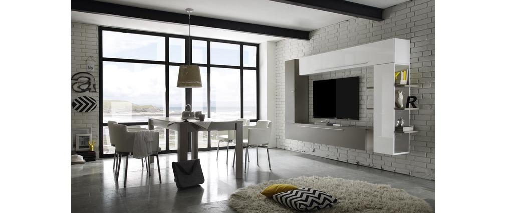 Ensemble tv mural design blanc et taupe anthon miliboo - Combinaison murale design ...