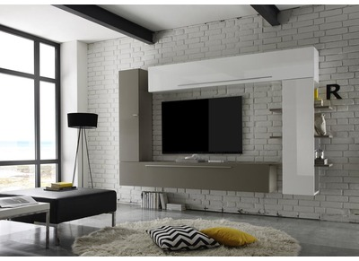 Ensemble TV  mural design blanc et taupe  ANTHON
