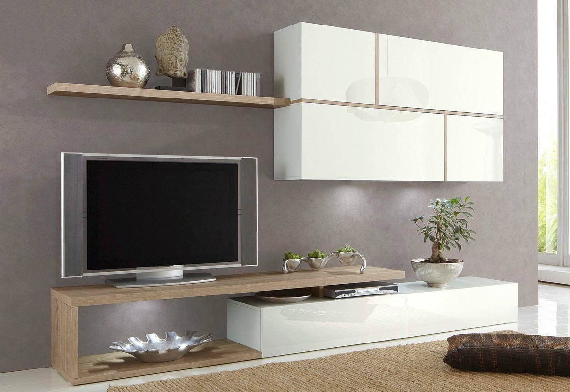 ensemble tv mural design laqu blanc et ch ne clair bahal. Black Bedroom Furniture Sets. Home Design Ideas
