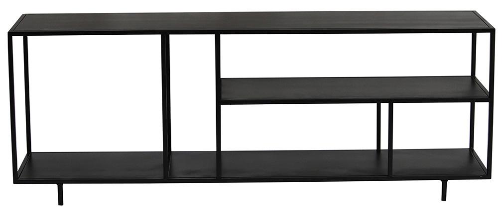 Étagère basse meuble TV design en métal noir L160 cm KARL