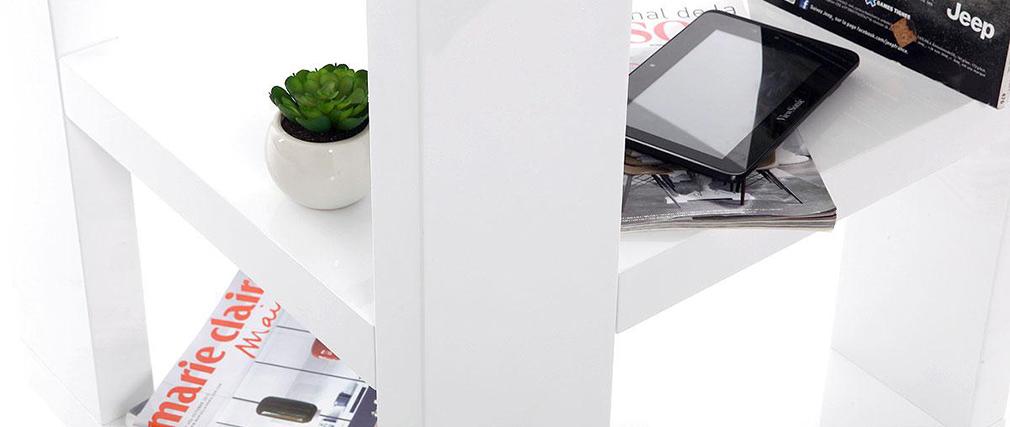 Etagère bibliothèque rotative design laquée blanc MAX