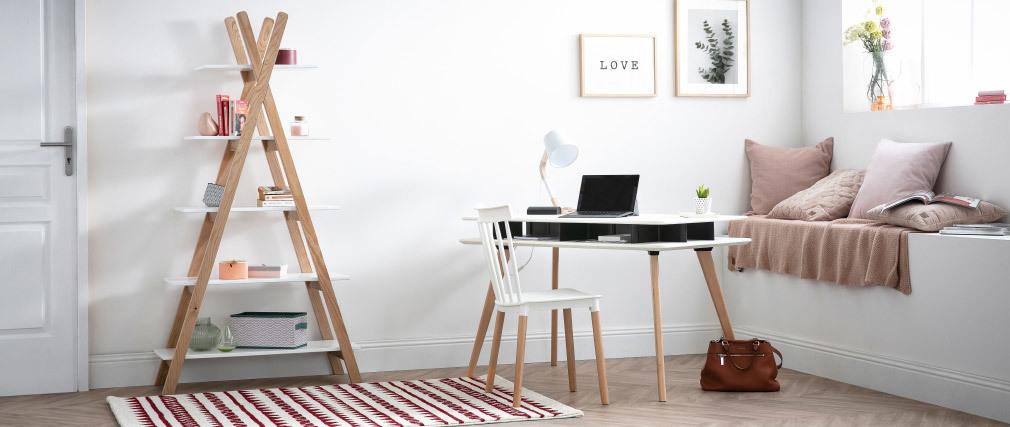Étagère bois clair et blanc style scandinave APACHE