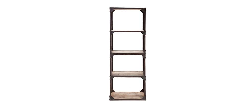 Etagère bois massif et métal industrielle ATELIER