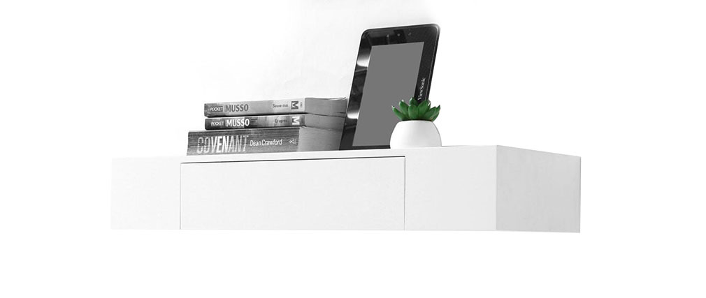 Tag re design avec tiroir blanche yza miliboo - Etagere murale avec tiroir leroy merlin ...