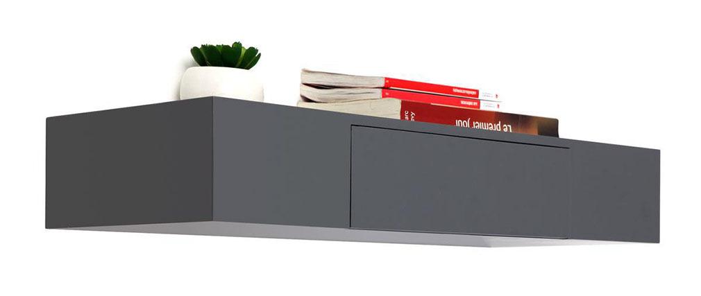 Tag re design avec tiroir grise yza miliboo for Etagere murale avec tiroir