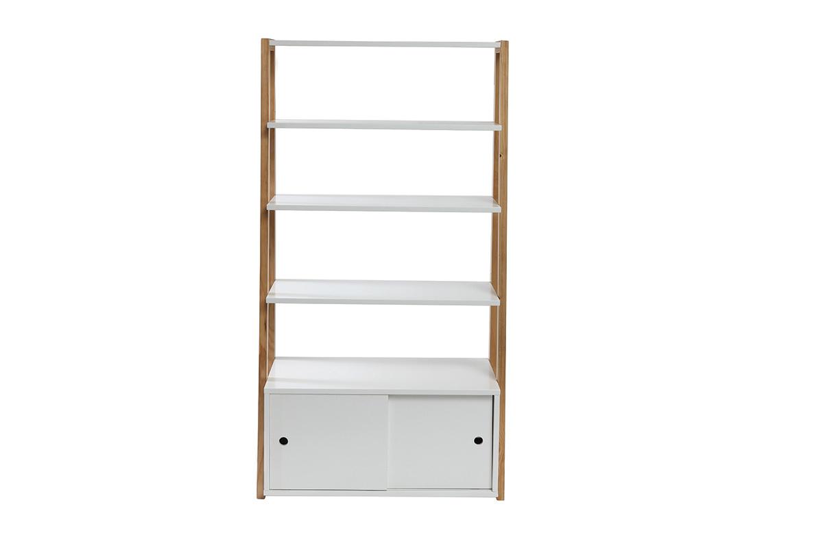tag re design laqu blanc mat et bois stoka miliboo. Black Bedroom Furniture Sets. Home Design Ideas