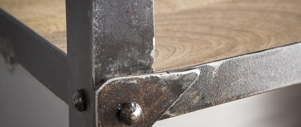 Étagère industrielle en manguier massif et métal ATELIER