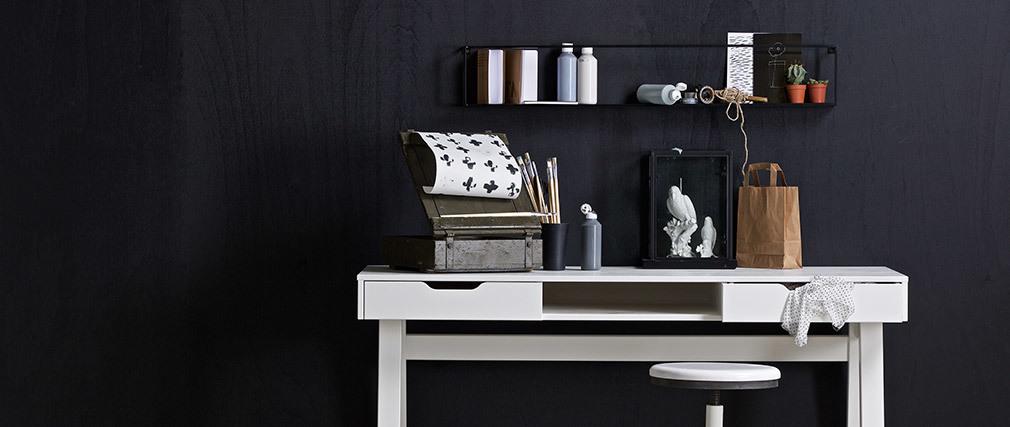 Etagère murale design métal noir 100 cm GLENN