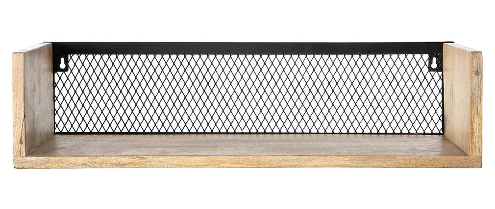 Étagère murale industrielle manguier et métal 60 cm RACK