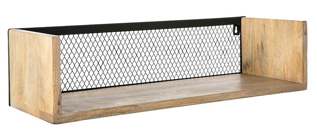 Étagère murale industrielle manguier massif et métal 60 cm RACK