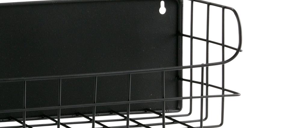 Étagère murale métal noir 80 cm MANUFACTURE