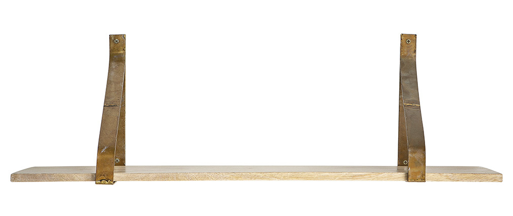 Etagère murale métal rouille et bois 80 cm MODO