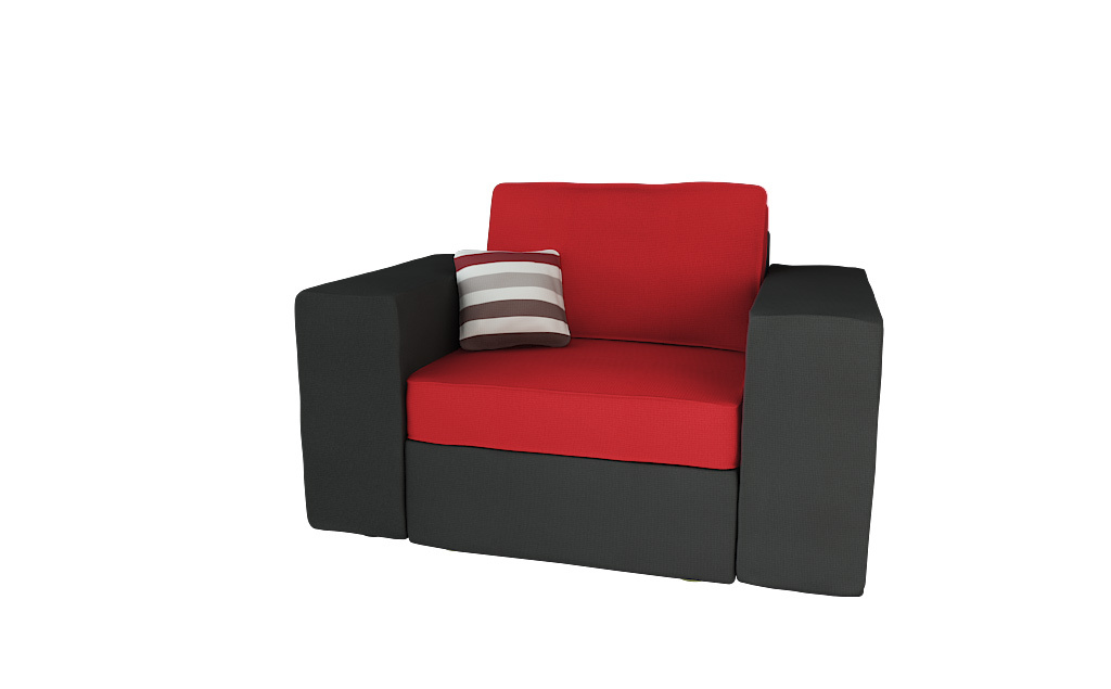 fauteuil assise large en coton et microfibre couleur noir et rouge up to you miliboo. Black Bedroom Furniture Sets. Home Design Ideas