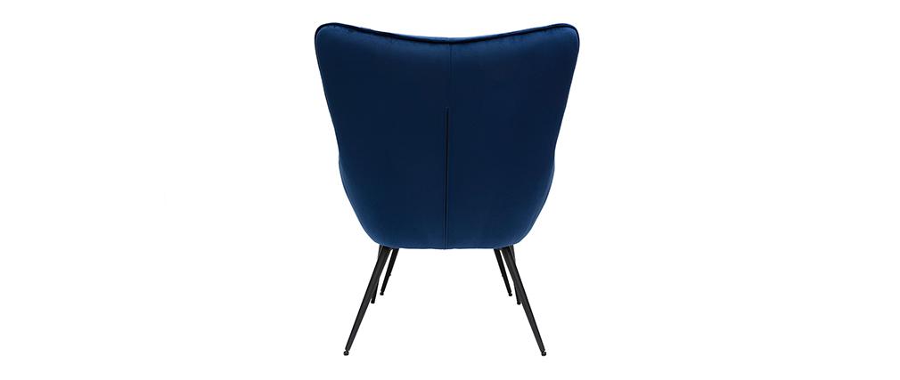 Fauteuil avec repose-pieds velours bleu MOOD - Miliboo & Stéphane Plaza