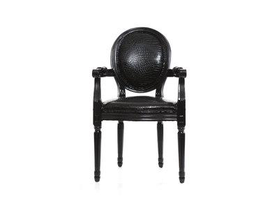 Fauteuil baroque Louis XVI noir MEDAILLON