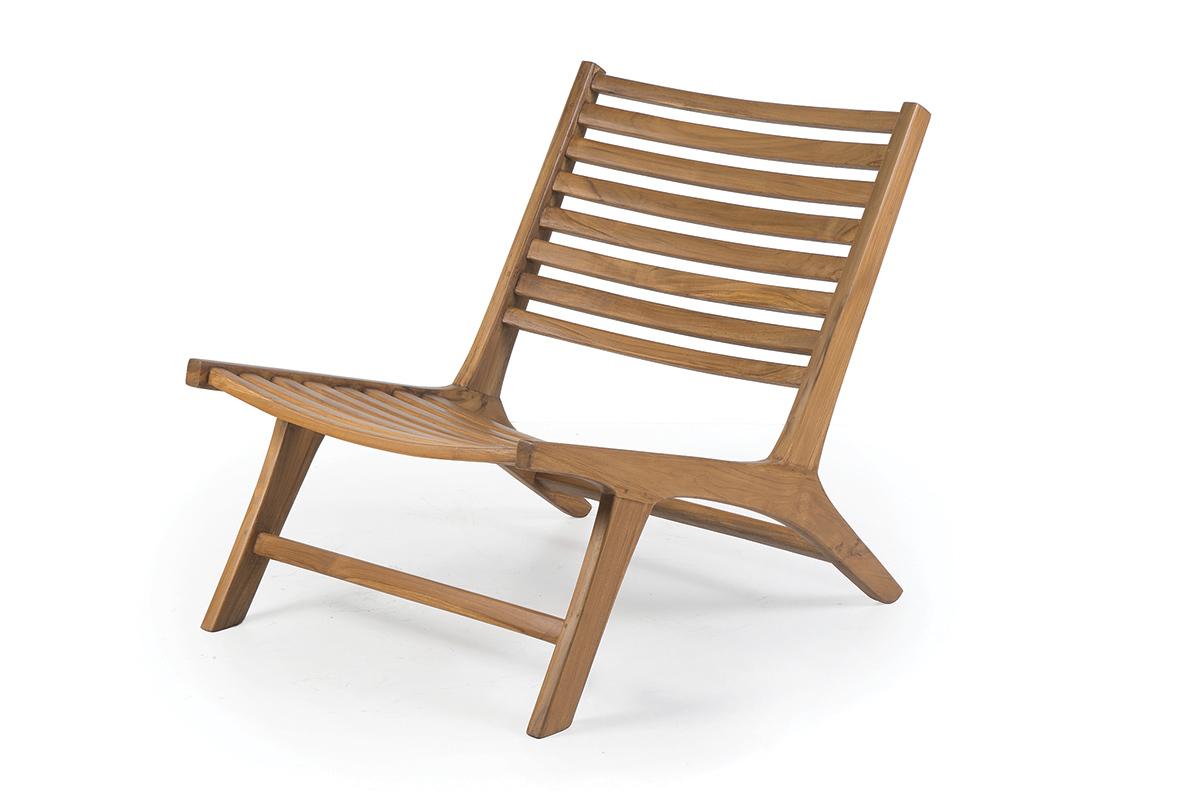 fauteuil bas design teck massif tektona miliboo. Black Bedroom Furniture Sets. Home Design Ideas