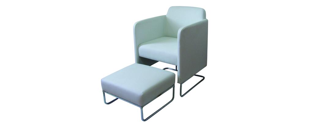 fauteuil blanc moderne nolan et son repose pieds assorti miliboo. Black Bedroom Furniture Sets. Home Design Ideas