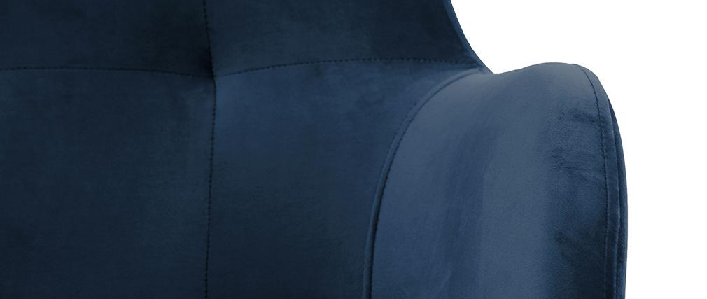 Fauteuil capitonné velours bleu marine et bois LEONIE