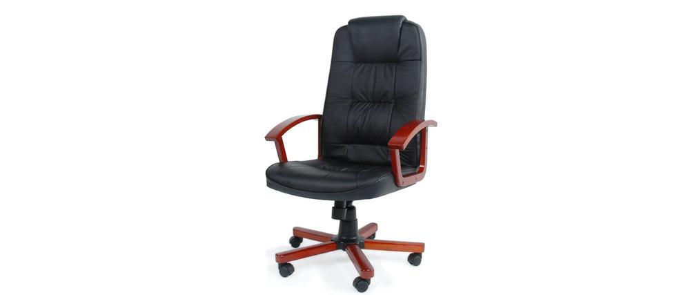 Fauteuil / chaise de bureau cuir noir Venus - refente de cuir pigmentée