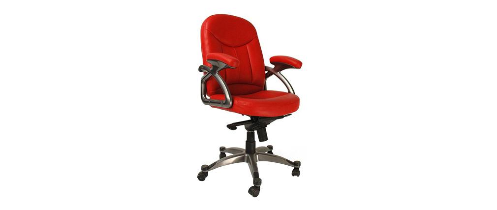 Fauteuil chaise de bureau rouge design enzo miliboo - Chaise de bureau rouge ...