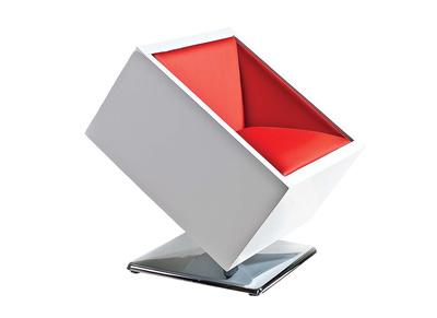 Fauteuil / chaise design blanc et rouge SQUARE BOX