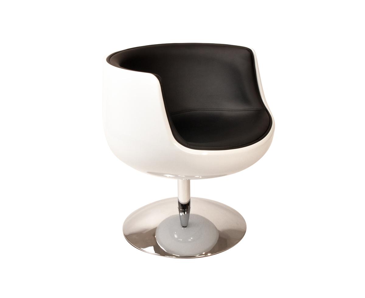 Fauteuil chaise design r tro blanc et noir brady miliboo - Fauteuil design noir et blanc ...