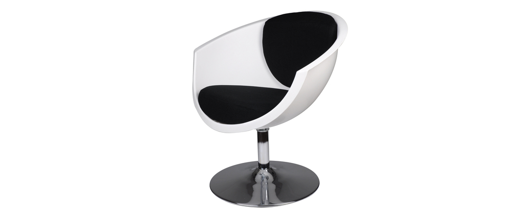 fauteuil chaise design r tro noir et blanc new groovy miliboo. Black Bedroom Furniture Sets. Home Design Ideas