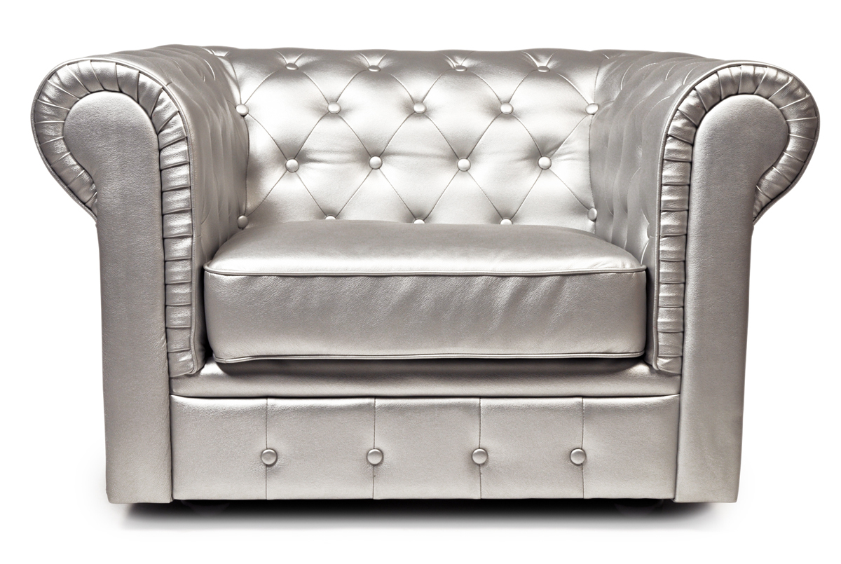 Fauteuil chesterfield argent design miliboo - Fauteuil chesterfield argent ...