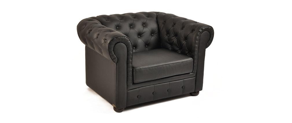 Fauteuil chesterfield noir design miliboo - Fauteuil chesterfield noir ...