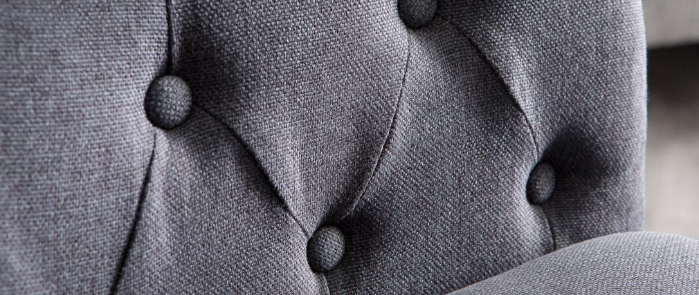 Fauteuil classique tissu gris foncé pieds bois BALTHAZAR